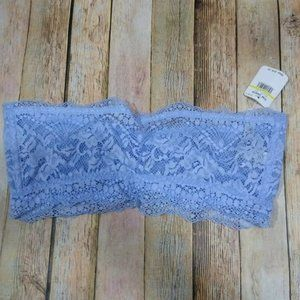 New Free People Intimately Lacey Looks Bandeau Medium Blue Lace Strapless